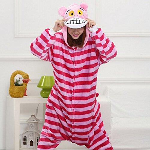 MH-RITA Neue Winter erwachsene Frauen Pyjama Tier Schlafanzug Anime Nachtwäsche mit Kapuze Flanell Pyjama Sets Star Einhorn Stitch Totoro Panda, Cheshire Cat, (Kostüm Herren Cheshire Cat)
