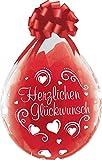 DeCoArt... Set Preis 2 Geschenkeballons Stufferballons Herzlichen Glückwunsch Herz weiß ca. 45 cm naturell ohne Schleife ungefüllt und 10 Kleine Latexballons ca 13 cm Perl farbig Sortiert