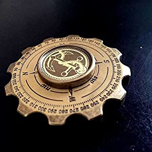 DUEBEL Compass Hand Spinner - Engraved Voyoge Style Brass Fidget Spinner with Ceramic Bearings