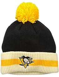 "Pittsburgh Penguins CCM NHL ""Retro Logo"" Striped Cuff Knit Hat Chapeau with Pom"