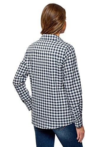 oodji Ultra Damen Lässiges Hemd mit Verstellbarer Armlänge Blau (7912C)