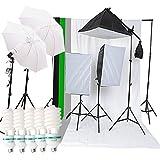 Etime 3 x 50 x 70cm Sofbox Set Hintergrundsystem Fotostudio Galgenstativ 2 x Durchlichtschirm 4x Hintergrundstoff 3x 135W Fotolampe Tageslicht Lampenstativ