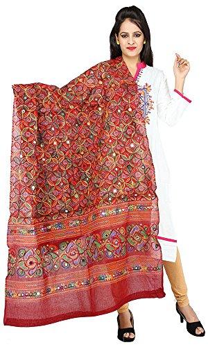 Banjara Women's Dupatta (RSN04_Kutchi Dupatta_Maroon_Maroon_Free)