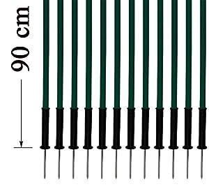 agility sport pour chiens - lot de 12 piquets de slalom, vert - 90 cm x Ø 25 mm avec des ressorts flexibles en métal - contient également un sac pratique