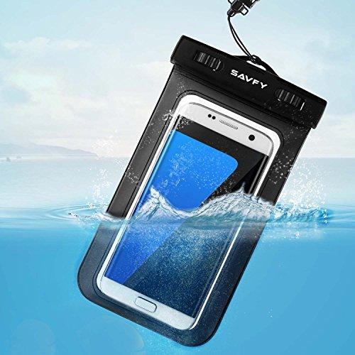 SAVFY Wasserdichte Hülle Universal Beachbag 7.0 Zoll IPX8 zertifizierte für Strand, Wandern, Outdoor, wasserdicht bis 6m Tiefe für iPhone 6/6S/6S Plus/ SE/ Galaxy S7/ S7 edge/ S6, Auftrieb schwarz Schwarz