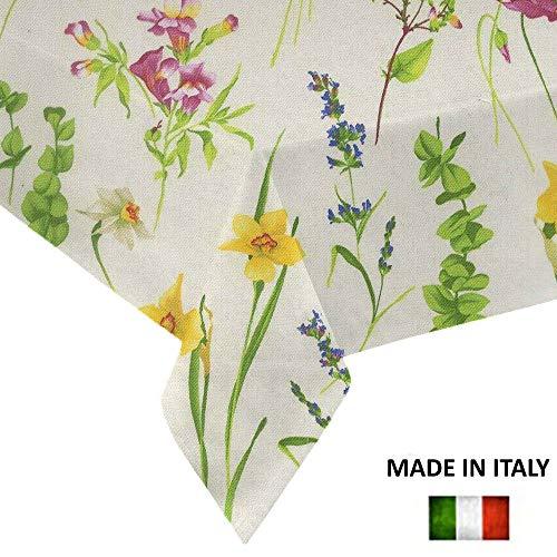Dr tovaglia rettangolare da tavola made in italy, copritavolo fantasia moderna primavera estate (fiori, 140 x 180 cm)