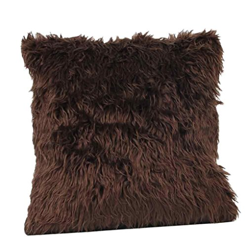 BakeLIN Kissenbezug Kaschmir Mode Plüsch Quadrat Pillowcase Lendenkissen Kissenhuelle Sofa Haus Dekoration 45cm*45cm (45cm*45cm, Kaffee) (Mikrofaser-plüsch-hase)