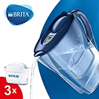 BRITA Marella Water Filter Starter Pack with 3 BRITA MAXTRA+ Cartridges, Water Filter that Helps with the Reduction of Limescale and Chlorine, in Blue