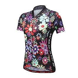 WOSAWE Ciclismo Bicicletta Donna Maglia Traspirante Fiore Stampato Manica Corta Maglia da con Coolmax Abbigliamento Ciclismo Antivento