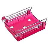 XMDZ Ausziehbar Schublade Aufbewahrung für Kühlschrank Küchenschrank Untertisch Schreibtisch Transparent Unter Regal Organizer 2er Set Rot