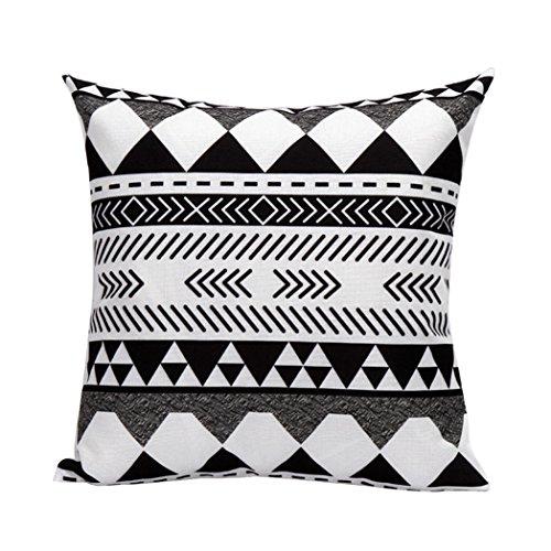 Vovotrade Ändern Muster aus schwarzen und weißen Kissen Paket 45cm*45cm weiße Leinen-Mix (H) (Paket Kissen)