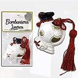 takestop BOMBONIERA BOMBONIERE 12 Pezzi mappamondo 4x5cm Laurea Cappello Pergamena Coccinella Ceramica con Nappa Rossa Portafortuna Ciondolo CIONDOLI Laureato