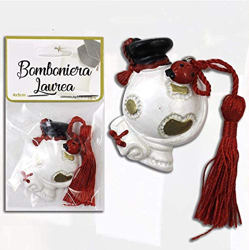 Takestop® bomboniera bomboniere 12 pezzi mappamondo 4x5cm laurea cappello pergamena coccinella ceramica con nappa rossa portafortuna ciondolo ciondoli laureato