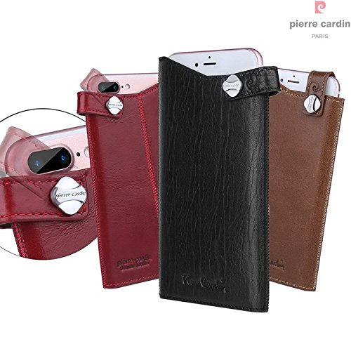 iPhone 7 Plus / iPhone 6S Plus / iPhone 6 Plus Case, Pierre Cardin Premium Luxurious Vintage Genuine Leather Holster Case Cover with Rotatable Belt Buckle Closure, Rouge Marron