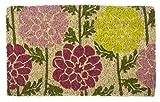 Zerbino Entryways Tappeto tessuto a mano in fibra di cocco, decorazione dalie, 40 x 60cm