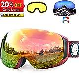 Snowledge Skibrille Snowboard Brille Rahmenlos OTG UV400 Magnetwechselsystem, Skibrille Damen & Herren, Winddicht Ski-Schutzbrillen für Motorrad Fahrrad Skifahren Skaten, Helmkompatible (REVO/Rot)