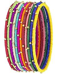 The Jewelbox Ethnic Slim Cotton 18k Gold Plated Brass Cotton Bangle Kada Set Of 12 Girls Women - B078N52TCF