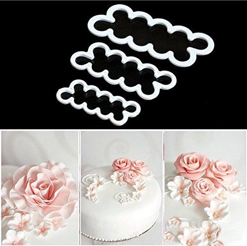 ODN 3 teilig DIY Rosen Ausstecher Silikonform 3D-Blumen zur Dekoration von Muffins Keksen Kuchen Zuckermasse