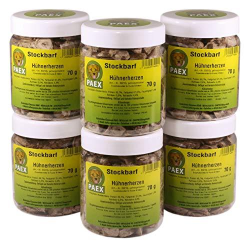 PAEX Stockbarf Hühnerherzen, gefriergetrocknet, Hundefutter, 420 g