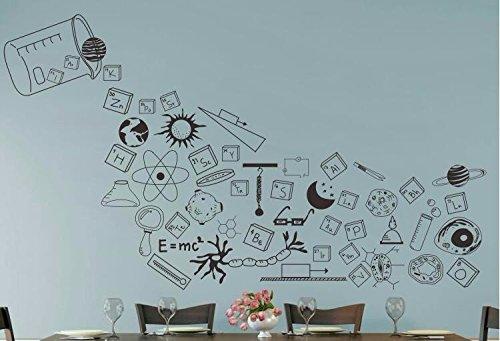 Hccy physical science laboratory formula chimica del autoadesivi del contesto multi-elemento adesivi personalizzati camera da letto divano sfondo adesivi murali per bambini, il nero, di grandi dimensioni