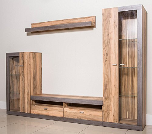Wohnwand Anbauwand 4-teilig mit Standvitrinen 215528 nussbaum / darkwood eiche - 3