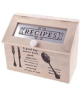 Boîte de rangement en bois vintage chic Recette Country Kitchen