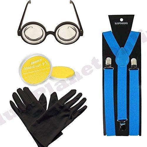 Verkleidung mit türkis-blauen Hosenträgern, schwarzen Handschuhen, gelber Gesichtsfarbe und Brille mit runden ()