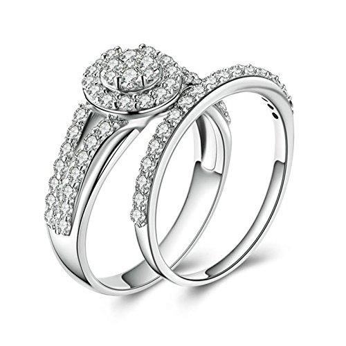 SonMo 925 Echt Silber Ring Trauringe Eheringe Heiratsantrag Ring Solitär Weiß Ringe mit Diamant Zirkonia Damenring Größe 65 (20.7) (Solitär-diamant-ring 2ct)