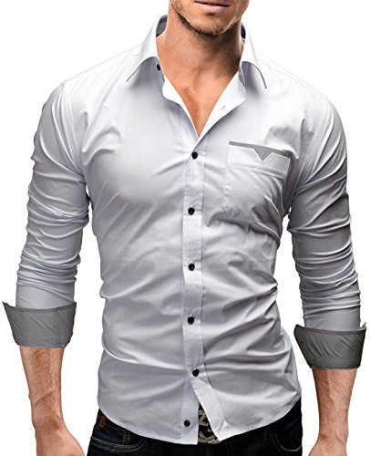 Men's High Quality Solid Plaid Patch Long Sleeve Casual Shirts white