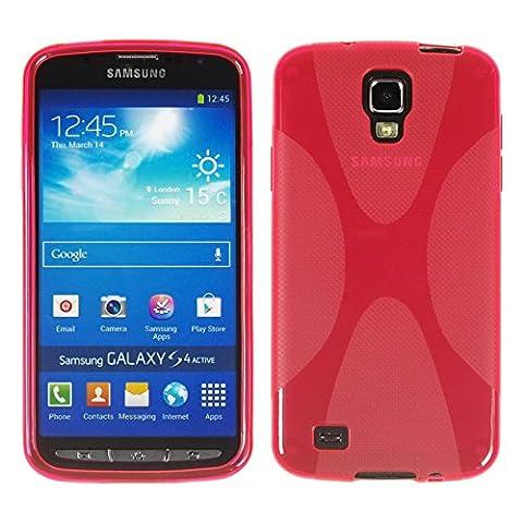 PhoneNatic Case für Samsung Galaxy S4 Active Hülle Silikon pink X-Style Cover Galaxy S4 Active Tasche + 2 Schutzfolien
