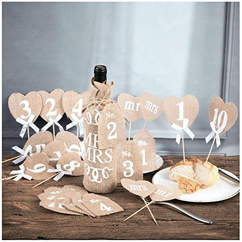LONGBLE Tischnummern Hochzeit Vintage DIY Hochzeit Tisch Zahlen rustikale Hochzeit Tisch Dekorationen, 20 stück Tabellennummer mit Stick und Dekoration MR & MRS (Tisch Hochzeit Diy Zahlen)