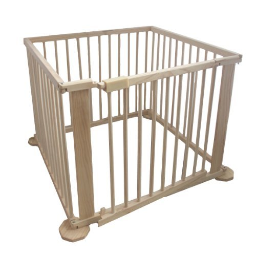 KMS FoxHunter Portable Baby Child Children Foldable Playpen Play Pen Room Divider Wood Wooden 4 Side Panel Heavy Duty New