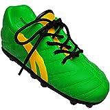 Unbekannt 2 Stück _ 3D Effekt - Spardosen - Fußballschuh / Sportschuh - Schuh - mit echten Schnürsenkel ! - grün - gelb - stabile Sparbüchse aus Porzellan / Keramik - F..