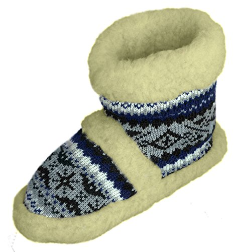 Natural Line Damen Winter-Stiefel / -Hausschuhe, Wolle, zum Hineinschlüpfen, in verschiedenen Farben erhältlich Blau