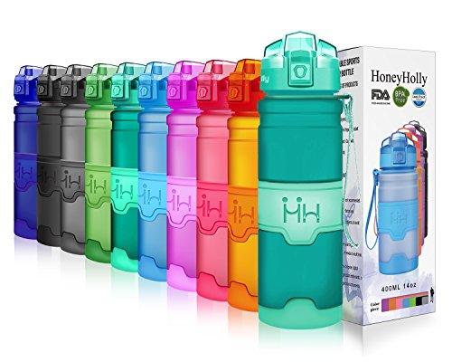 HoneyHolly Sport Trinkflasche - 25oz / 700ml - BPA frei dicht und umweltfreundlich - Für Gym, Laufen, Yoga, Camping, Outdoor, Männer, Frauen & Kinder - One Handed Open & Tritan Trinkflaschen aus Kunststoff mit Filter (0.7 Liter, Matte Smaragd)