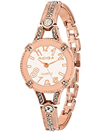 RIDIQA Analog Crystal Studded WHITE Dial Stainless Steel Golden Wrist Watch For_Girls, Women-RD-073