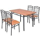 Festnight 5-tlg. Essgruppe Set inkl. 1 Tisch und 4 Stühlen Esstisch Essstuhl Küchen Sitzgruppe Esszimmergarnitur für Esszimmer oder Küche - Braun und Schwarz