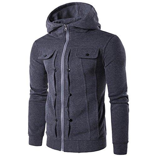 KEERADS Herren Jacke, Baumwolle mit reißverschluss, 5 Farbe,Größe S M L XL XXL (M, Dunkelgrau Hoodie)
