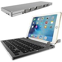Tastiera Pieghevole Bluetooth,ICOUVA Tastiera Bluetooth Mini tastiera wireless ricaricabile ultra-sottile Bluetooth con touchpad per iOS, Android, Windows-Black