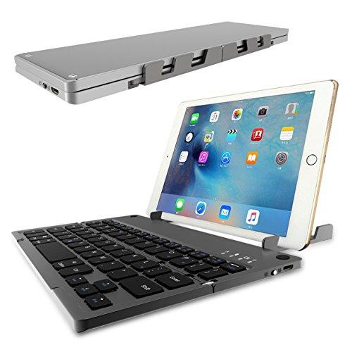 Faltbare Bluetooth Tastatur,ICOUVA Faltbare Tastatur Ultradünne Wireless Keyboard Universelle für iPhone iPad iOS, Windows und Tablets Android Smartphone,Mit wiederaufladbarer Batterie(Schwarz)