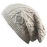 ISEYMI Slouch Jersey Beanie Winter Mütze Herren Damen warme Feinstrick Beanie Mütze mit Flecht Muster und sehr weichem, Unisex