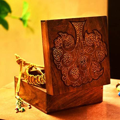 Handwerk, mit der Hand bearbeitetes Holz, Schmuck-Box, Aufbewahrung für Schmuck, Organizer, Berlocke, Schmuck-Box im traditionellen Design und mit Messing-Einlage, holz, STYLE 6 ()