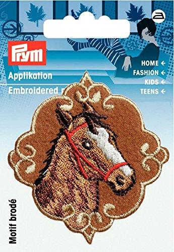 Prym Eisen auf Patch Motiv Aufnäher Braun Horses Head Bestickt–jedes