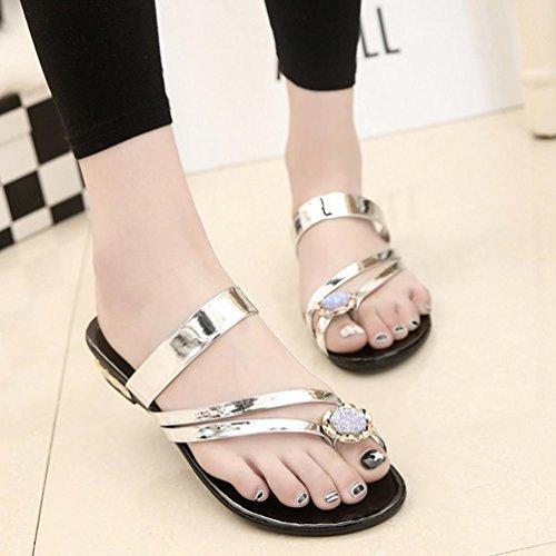 DM&Y 2017 Coreano moda clip colore solido piedi con sandali piatti sandali di cristallo dei sandali casuale Gold