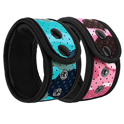 MoKo Schweißfest Knöchel Band Kompatibel mit Garmin/Fitbit, 2 Stück Einstellbar Strap Mesh Tasche für Fitbit Inspire/Inspire HR/Charge 2/Alta/Alta HR/Flex/Flex 2, Vivosmart HR/3/4 - Blu + Rosa