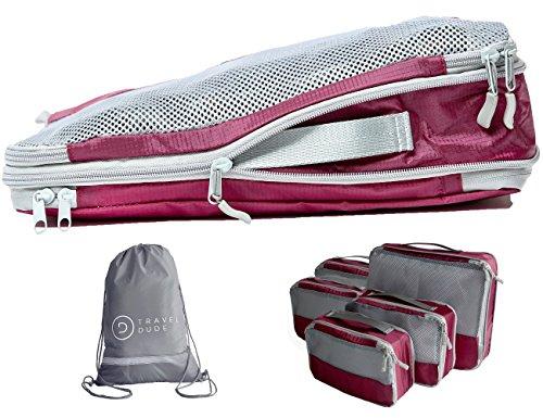 Packwürfel Set mit Kompression | Packing Cubes | 7-teiliges Packtaschen Set & Gepäck Organizer für Rucksack, Koffer, Handgepäck & Co. | Extra leicht | Travel Dude (Weinrot, 7-teilig)