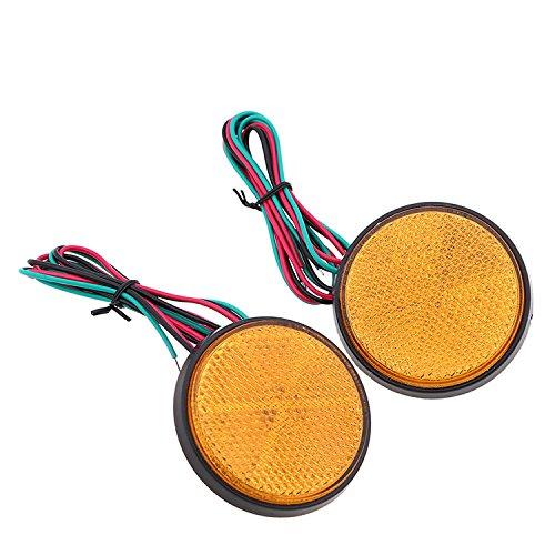 HEHEMM Rrücklicht Anhänger, Led Frontblitzer 2 Stück LED Rund Reflektor Bremsstopp Marker Licht Blinker Rückleuchten für Truck Trailer Auto Motorrad (Gelb) - Led-marker Anhänger