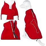 Pet Dog Puppy Warm Jumper Sweater Fleece Clothing - Bone - Red - 36cm
