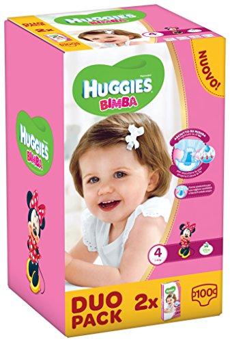 Huggies Bimba, Taglia 4 (7-18 kg), 2 confezioni da 50 [100 Pannolini]