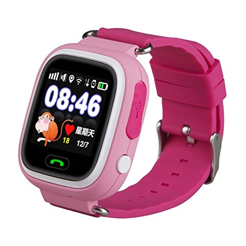 Elepaio Kids Smart Watch, Touchscreen GPS Tracker Sim Card Smartwatch Phone Anti-lost Finder with SOS Call Children Wristwatch Fitness Tracker Bracelet with Parents Control App for Android IOS (pink)